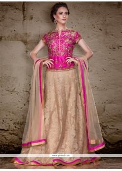 Radiant Pink And Beige Embroidered Work Raw Silk A Line Lehenga Choli