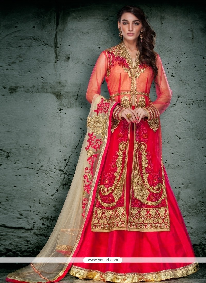 Dignified Red Embroidered Work Net A Line Lehenga Choli