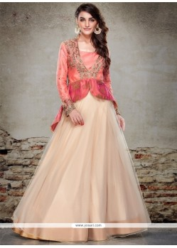 Lustre Net Cream And Peach A Line Lehenga Choli