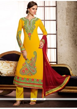 Blooming Mustard Embroidery Work Pakistani Suit