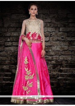 Luscious Raw Silk Hot Pink A Line Lehenga Choli