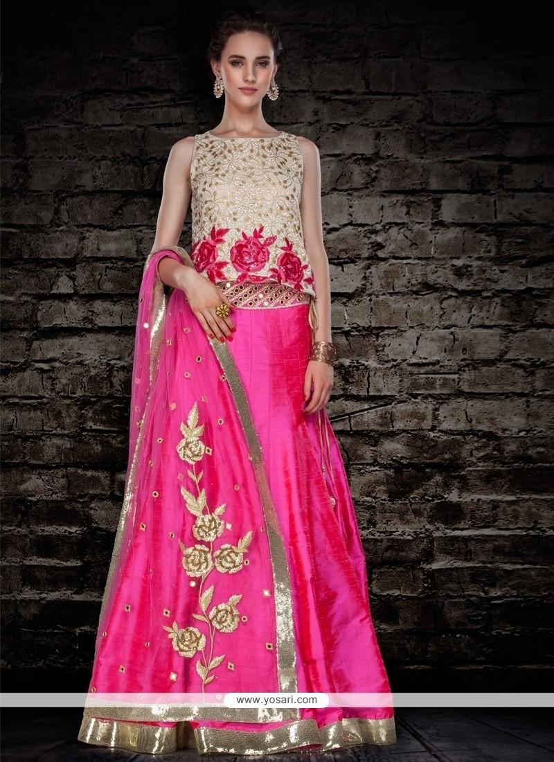 Luscious Raw Silk Hot Pink A Line Lehenga Choli
