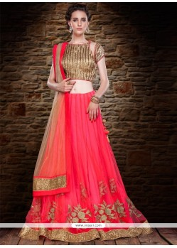 Exuberant Net Orange Embroidered Work A Line Lehenga Choli