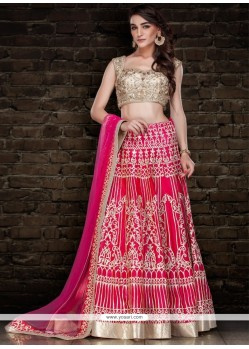 Pink Patch Border Work A Line Lehenga Choli