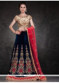 Sensible Navy Blue Patch Border Work Velvet A Line Lehenga Choli