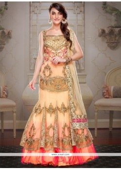 Charming Cream And Pink A Line Lehenga Choli