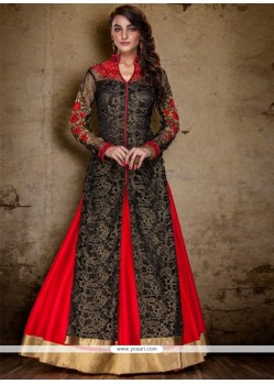 Aspiring Raw Silk Red And Black A Line Lehenga Choli