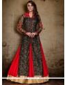 Aspiring Raw Silk Red And Black A Line Lehenga Choli