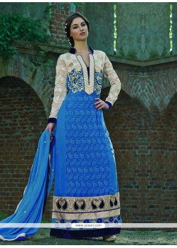Off White And Blue Resham Work Georgette Salwar Suit