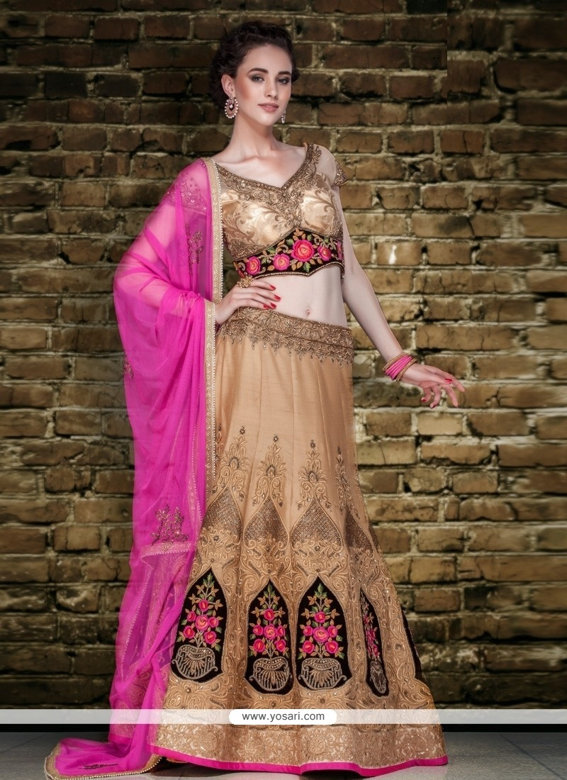 Snazzy Raw Silk Pink And Beige Embroidered Work A Line Lehenga Choli
