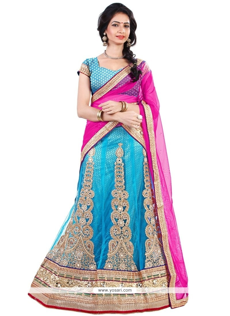 Fascinating Turquoise And Pink Embroidered Work A Line Lehenga Choli