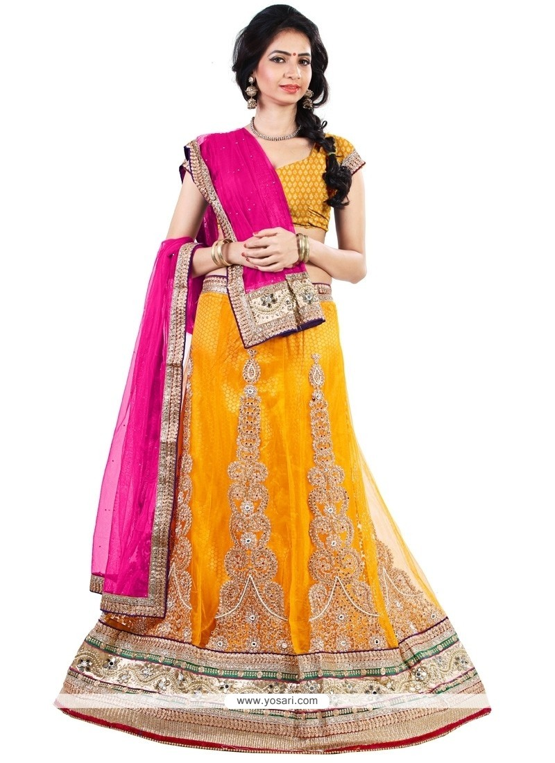 Delectable Net Embroidered Work A Line Lehenga Choli