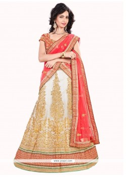 Distinctive Embroidered Work Red And Off White A Line Lehenga Choli