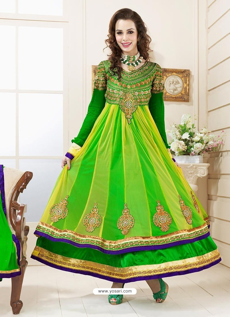 Wonderful Green Net Salwar Kameez