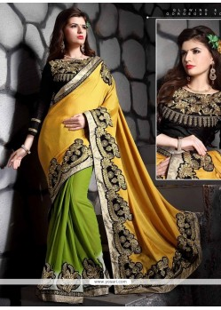 Observable Jacquard Green And Yellow Designer Saree
