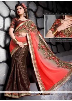 Pleasance Embroidered Work Brown Designer Saree