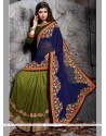 Groovy Embroidered Work Green And Blue Designer Saree