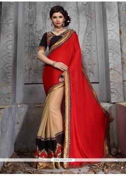 Beckoning Red Patch Border Work Jacquard Designer Saree