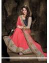 Pink Resham Work Georgette Designer Saree