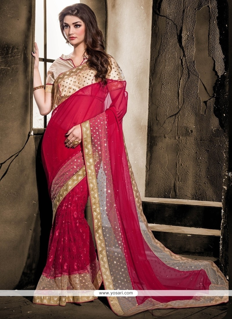 Splendid Lace Work Designer Saree