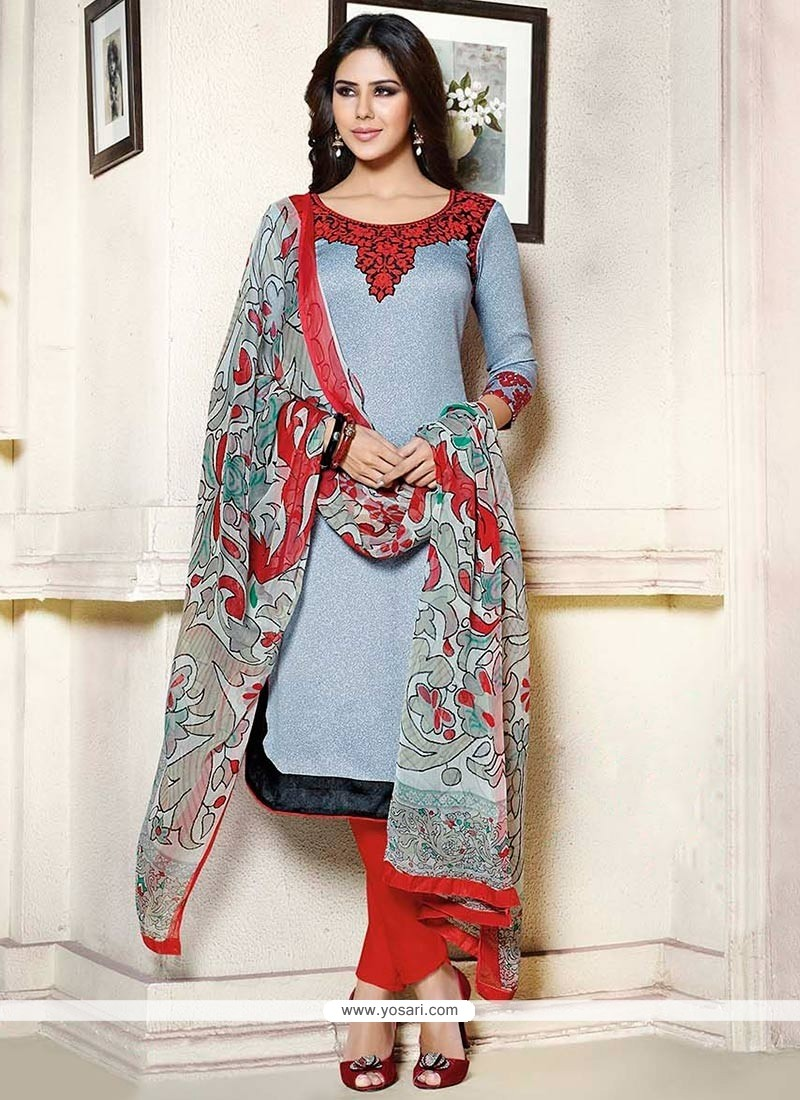 Beautiful Blue Resham Straight Pant Suit