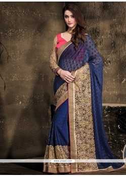 Renowned Navy Blue Lace Work Designer Saree
