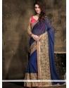 Renowned Navy Blue Lace Work Designer Saree
