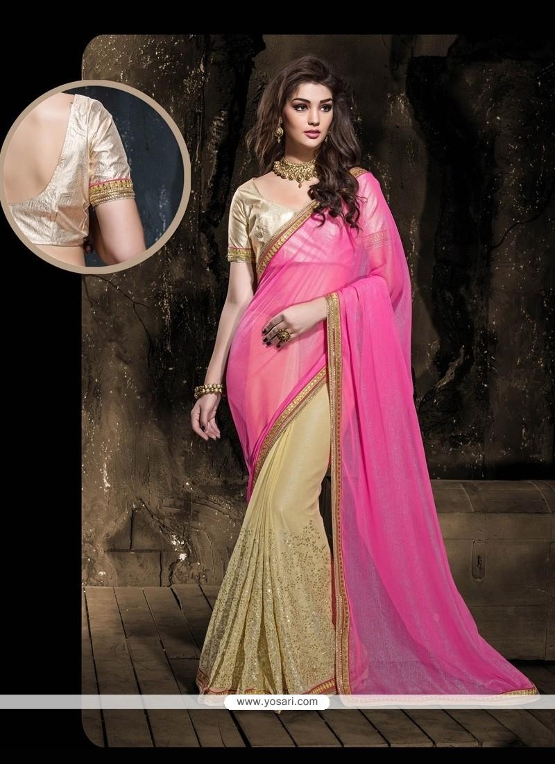 Grandiose Faux Chiffon Hot Pink And Beige Designer Saree