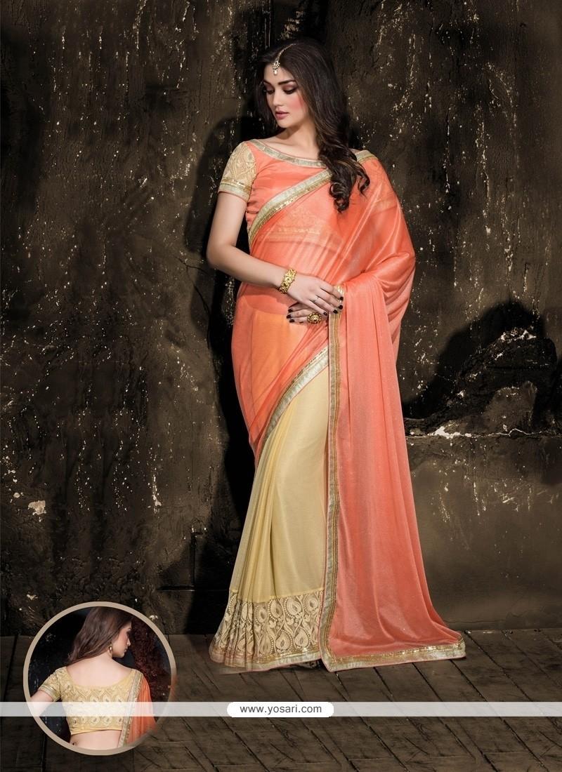 Adorning Faux Chiffon Designer Saree