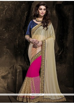 Auspicious Hot Pink And Beige Zari Work Georgette Designer Saree