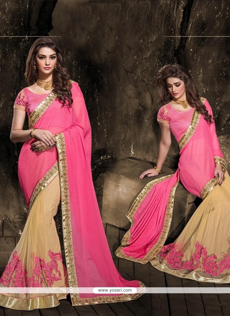 Intrinsic Hot Pink Lace Work Faux Chiffon Designer Saree