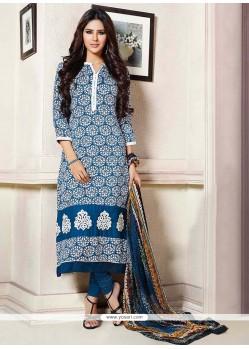 Blooming Blue Pashmina Churidar Suit