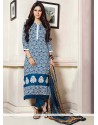 Blooming Blue Pashmina Churidar Suit