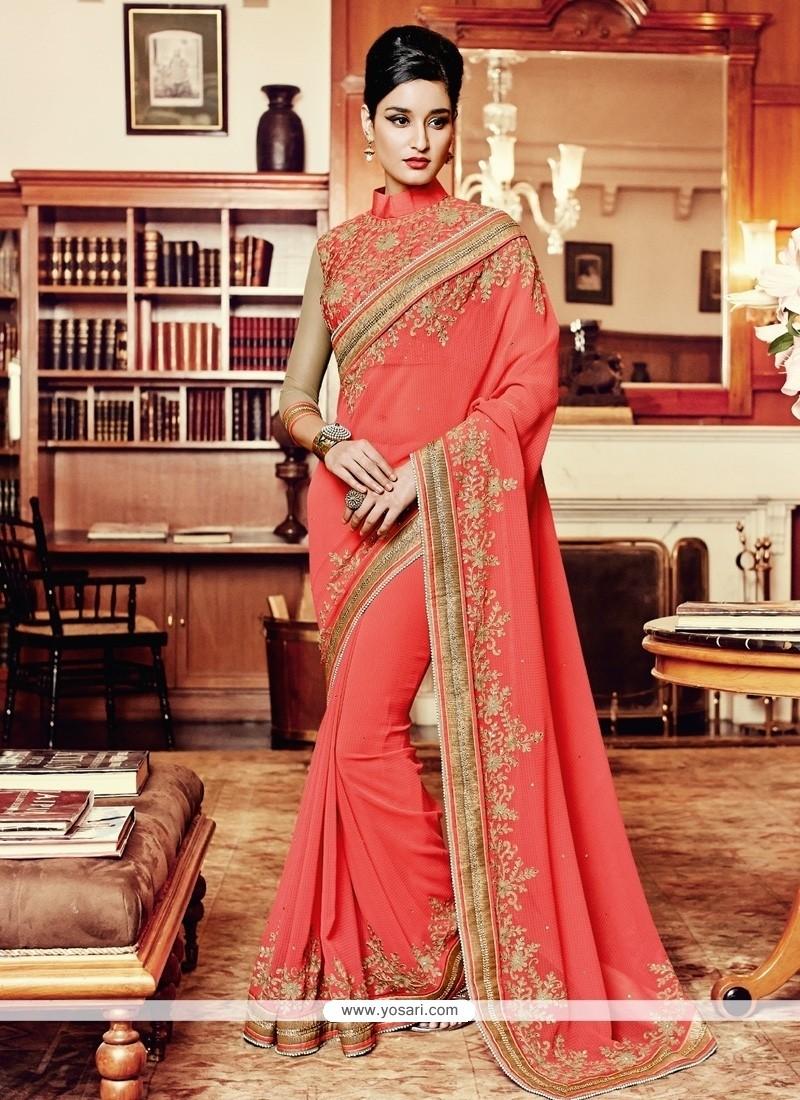 Superb Georgette Peach Designer Saree