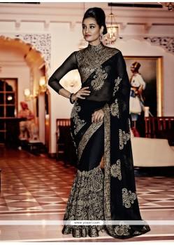 Dashing Embroidered Work Black Designer Saree