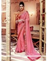 Conspicuous Hot Pink Embroidered Work Georgette Designer Saree
