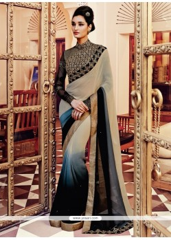 Vibrant Beige And Black Zari Work Georgette Designer Saree