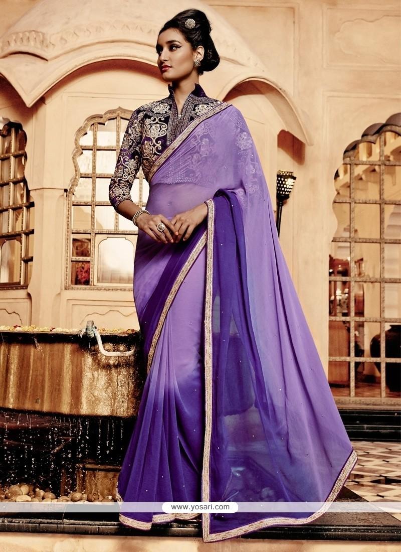 Snazzy Purple Resham Work Georgette Designer Saree