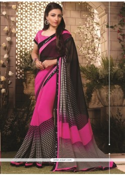 Amazing Georgette Black Print Work Casual Saree