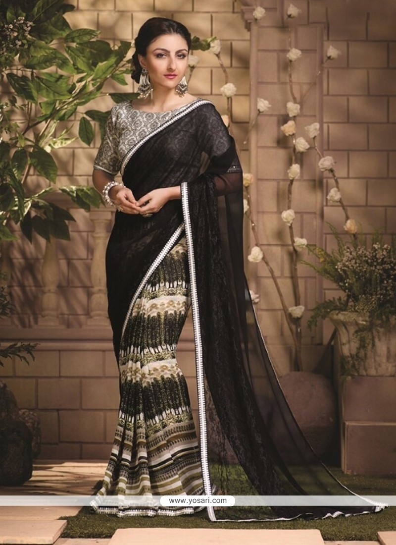 Luscious Georgette Lace Work Casual Saree