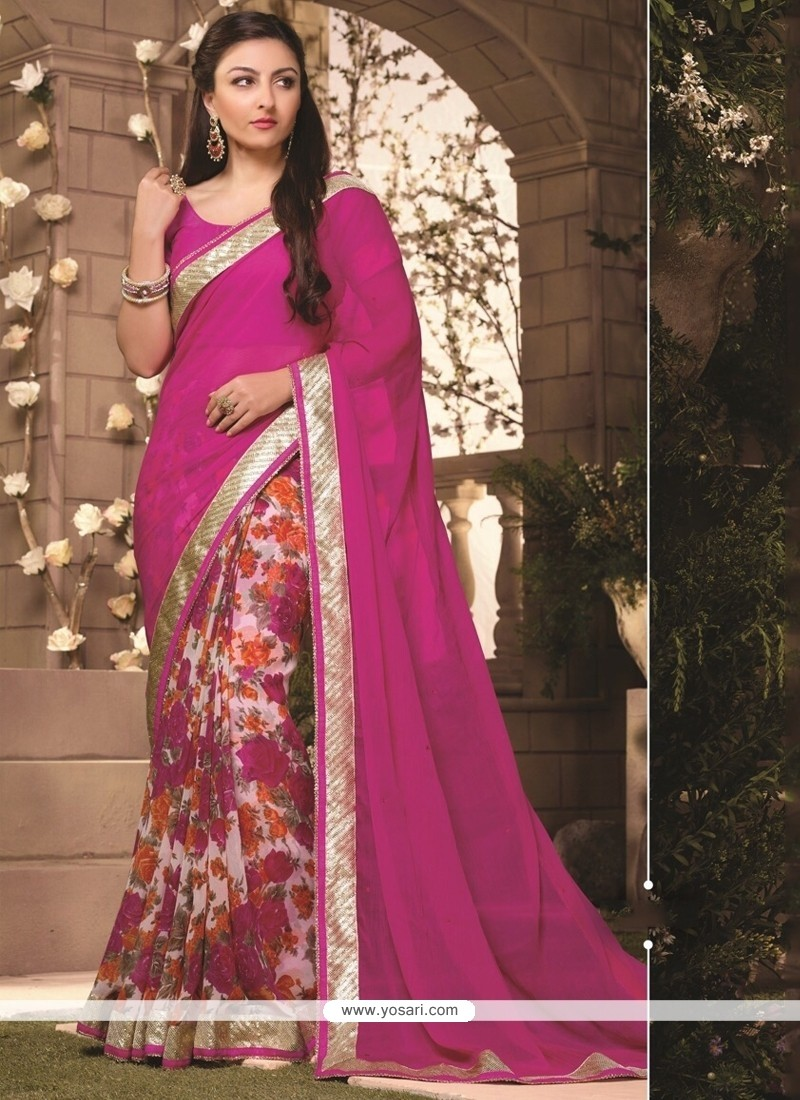 Desirable Georgette Lace Work Casual Saree