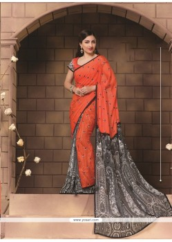 Preferable Georgette Orange Print Work Casual Saree