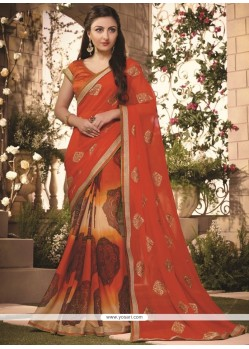 Remarkable Georgette Lace Work Casual Saree