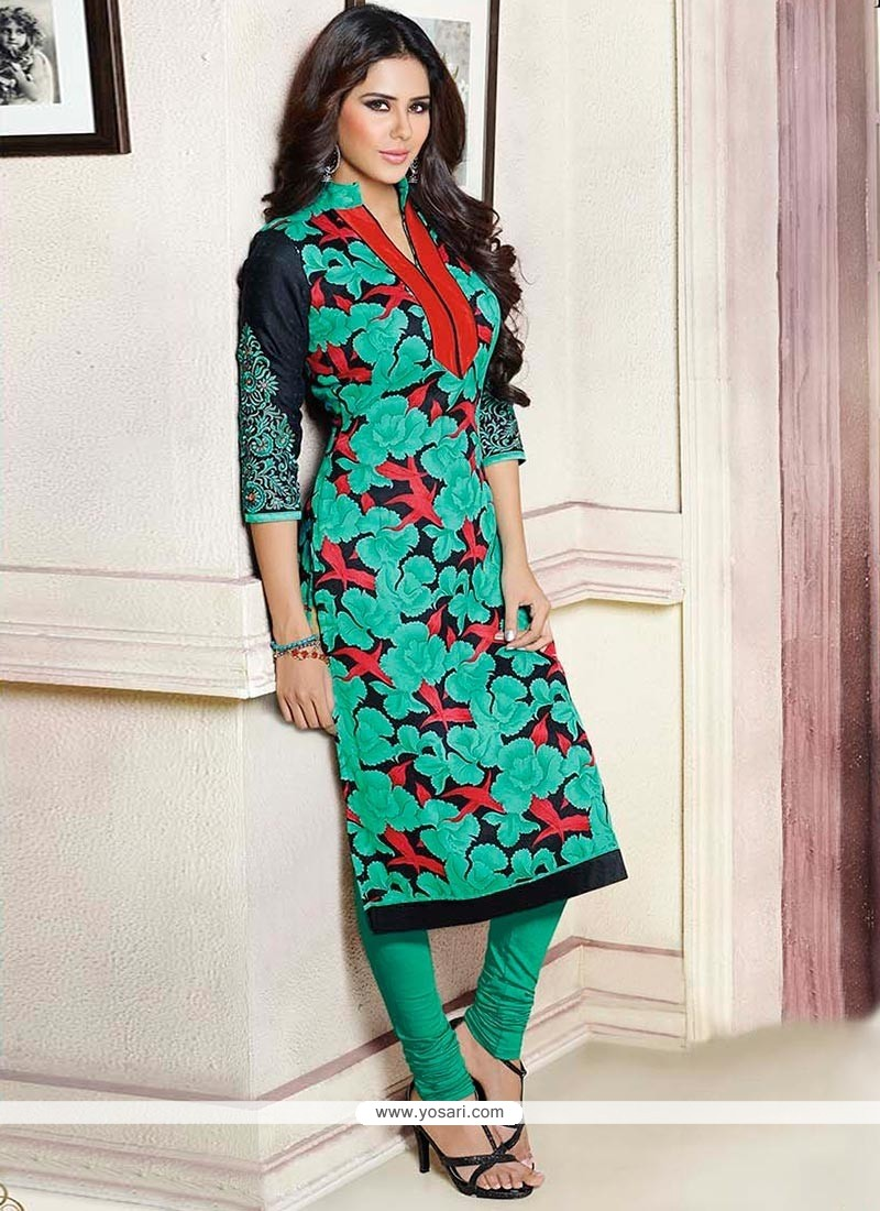 Green Pashmina Churidar Suit