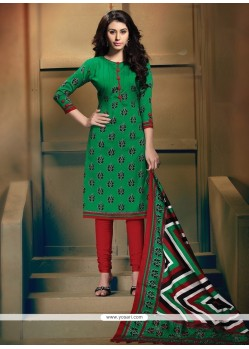 Surpassing Print Work Green Banglori Silk Churidar Designer Suit