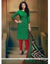 Surpassing Print Work Green Banglori Silk Churidar Designer Suit