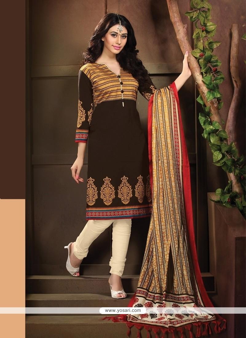 Fascinating Banglori Silk Brown Lace Work Churidar Designer Suit