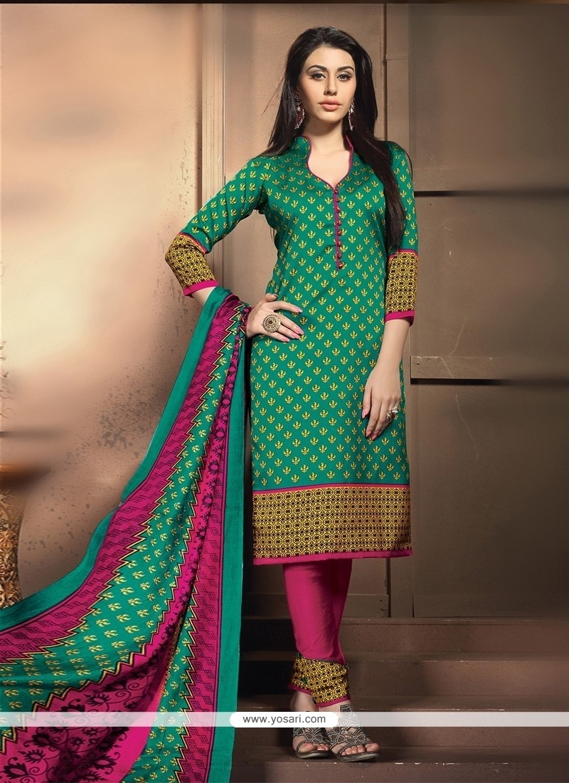 Gilded Banglori Silk Green Churidar Designer Suit