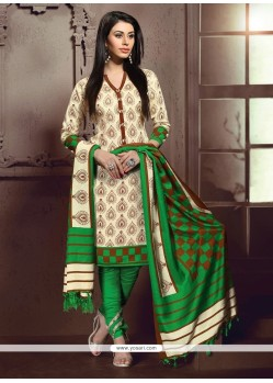 Unique Print Work Cream And Green Banglori Silk Churidar Designer Suit