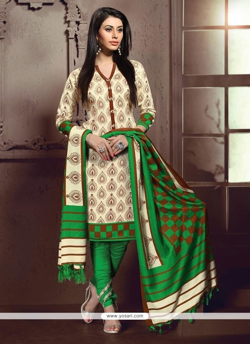 Unique Print Work Cream And Green Banglori Silk Churidar Designer Suit